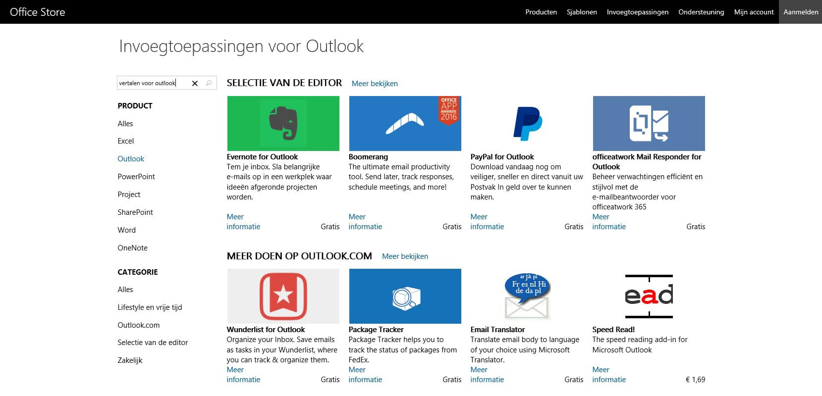 Translator for Outlook - Zoeken in Office Store