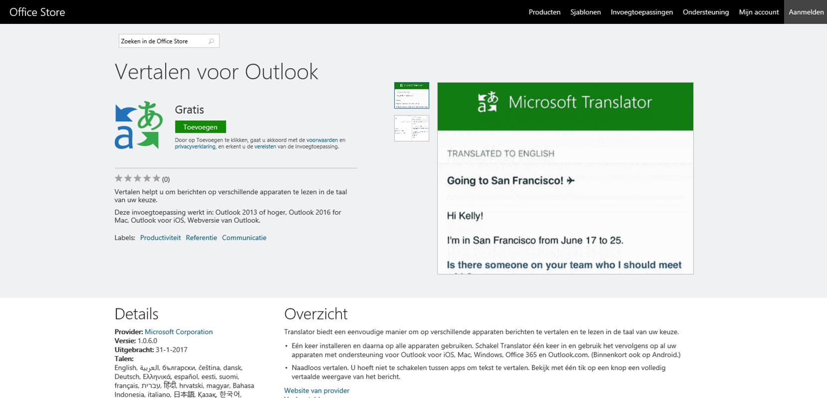 Translator for Outlook - Vertalen voor Outlook