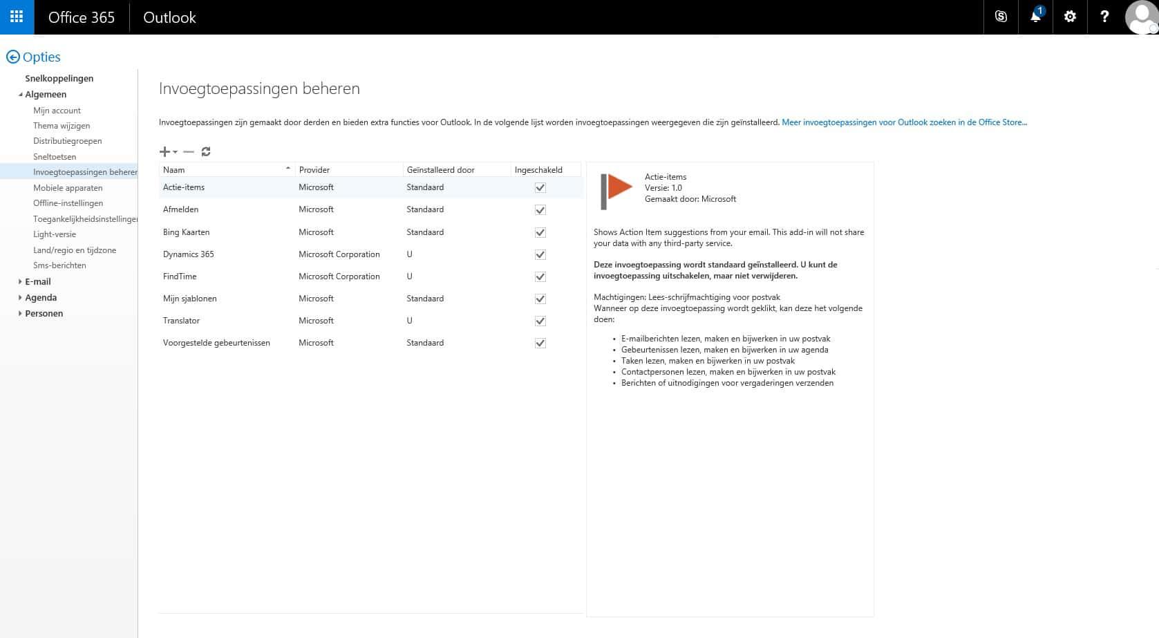 Translator for Outlook - Invoegtoepassingen beheren