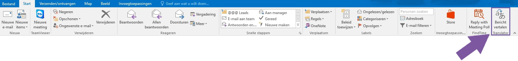 Translator for Outlook - Button in lint