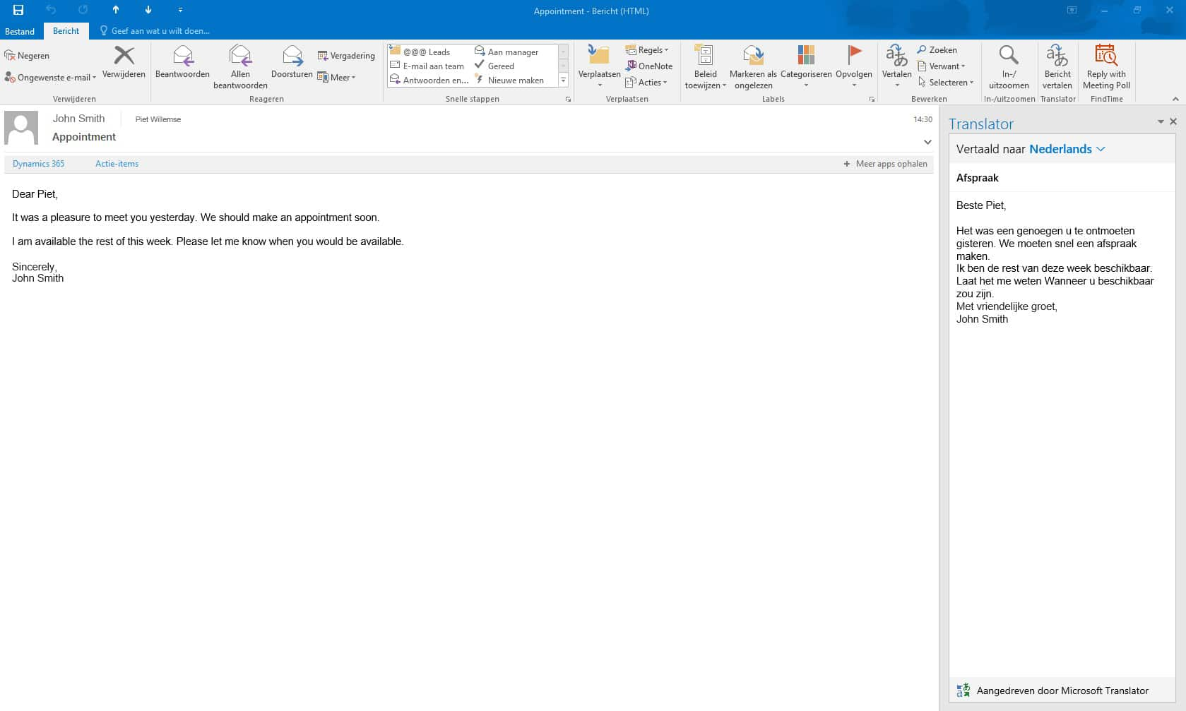 Translator for Outlook - Integratie in Outlook