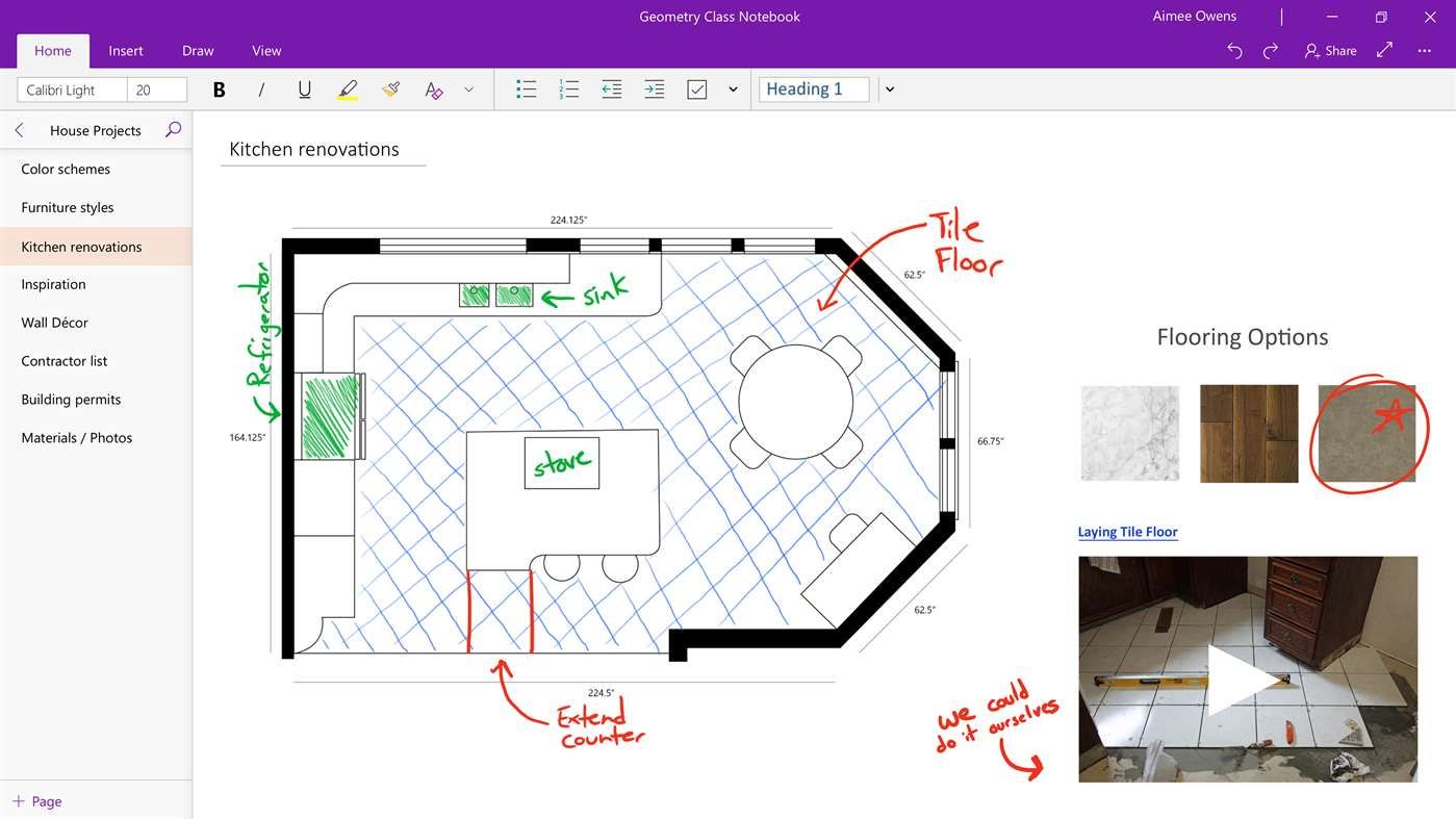 Office 365 OneNote - ontwerp keuken