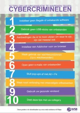 Poster 10 tips tegen cybercriminelen
