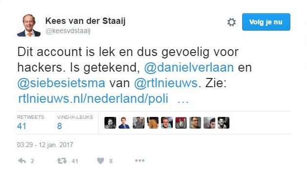 Tweet hack Kees van der Staaij SGP