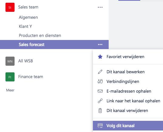 Microsoft Teams - kanaal volgen
