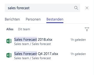 Microsoft Teams - Zoek en filter functie
