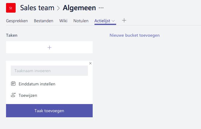 Microsoft Teams - Actielijst