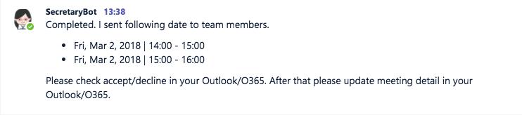 Bots in Teams - secretary bot meeting planning