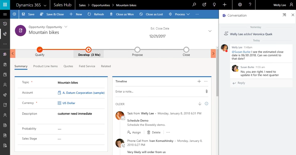 Dynamics 365 for Sales - chat met Teams over verkoopkansen