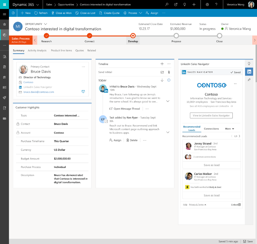 Dynamics 365 for Sales - integratie met InMail LinkedIn