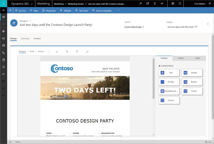 Dynamics 365 for Marketing - designer email