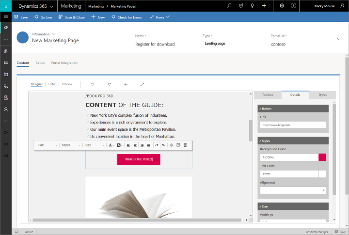 Dynamics 365 for Marketing - designer pages