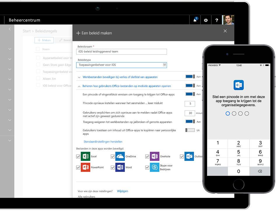 Microsoft 365 bescherm uw mobiele devices met pincode