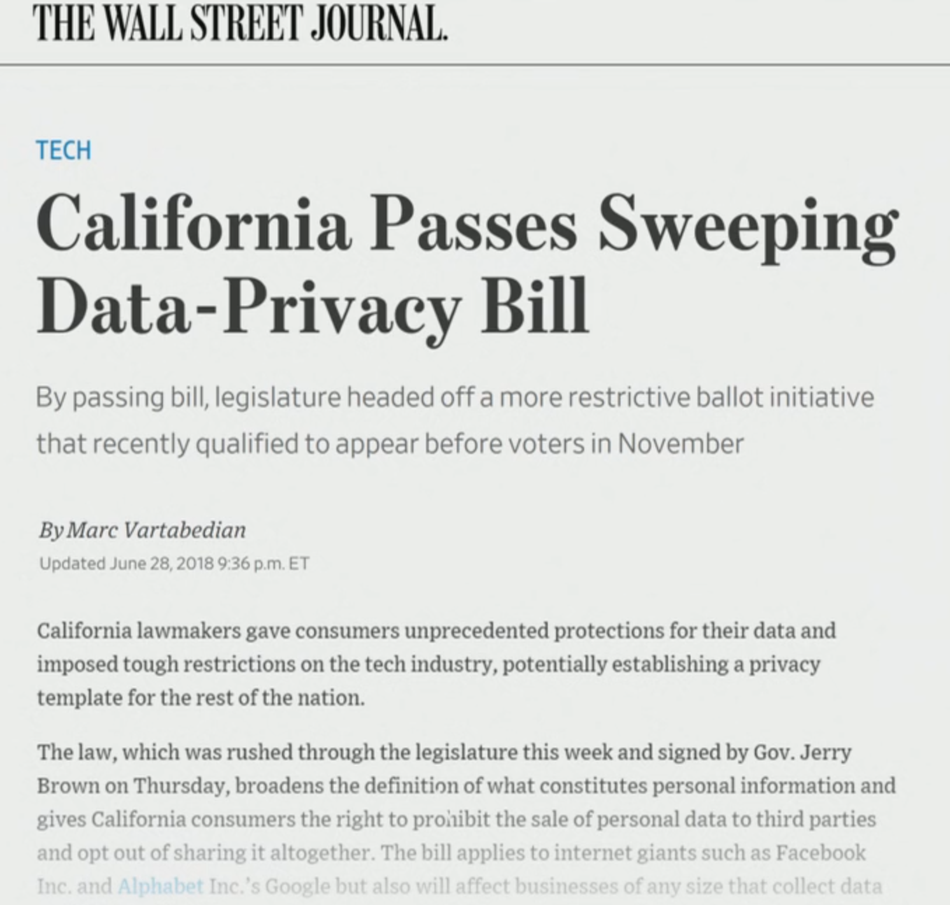 Wall Street Journal - California passes sweeping data privacy bill