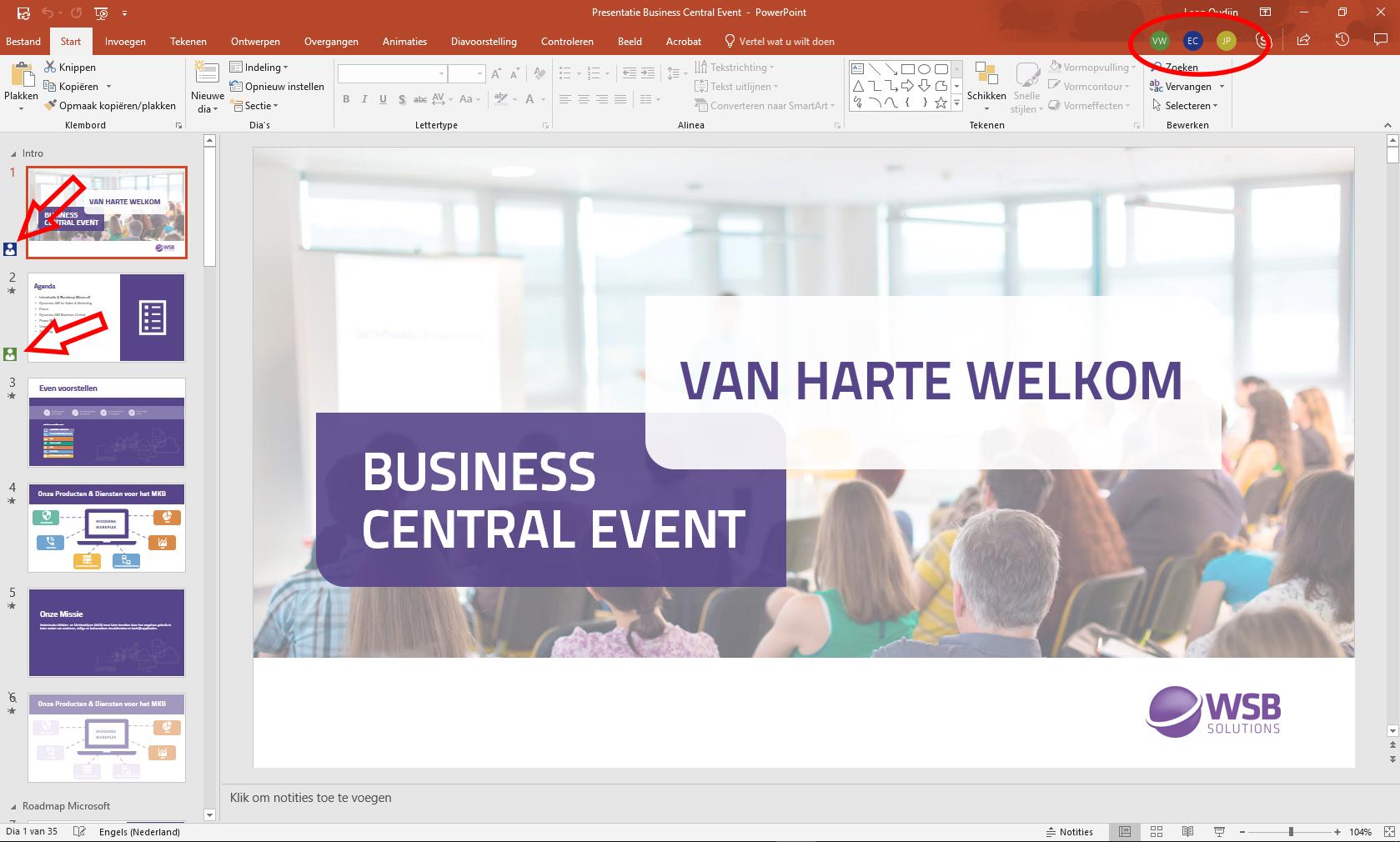 Tegelijk PowerPoint presentatie aanpassen