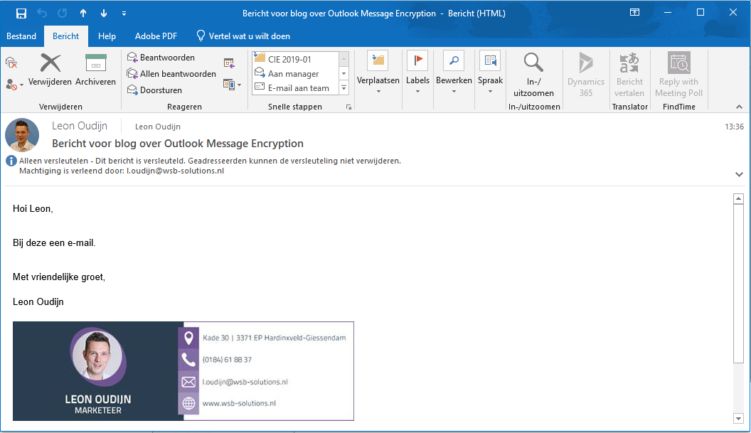Email versleuteld in Outlook
