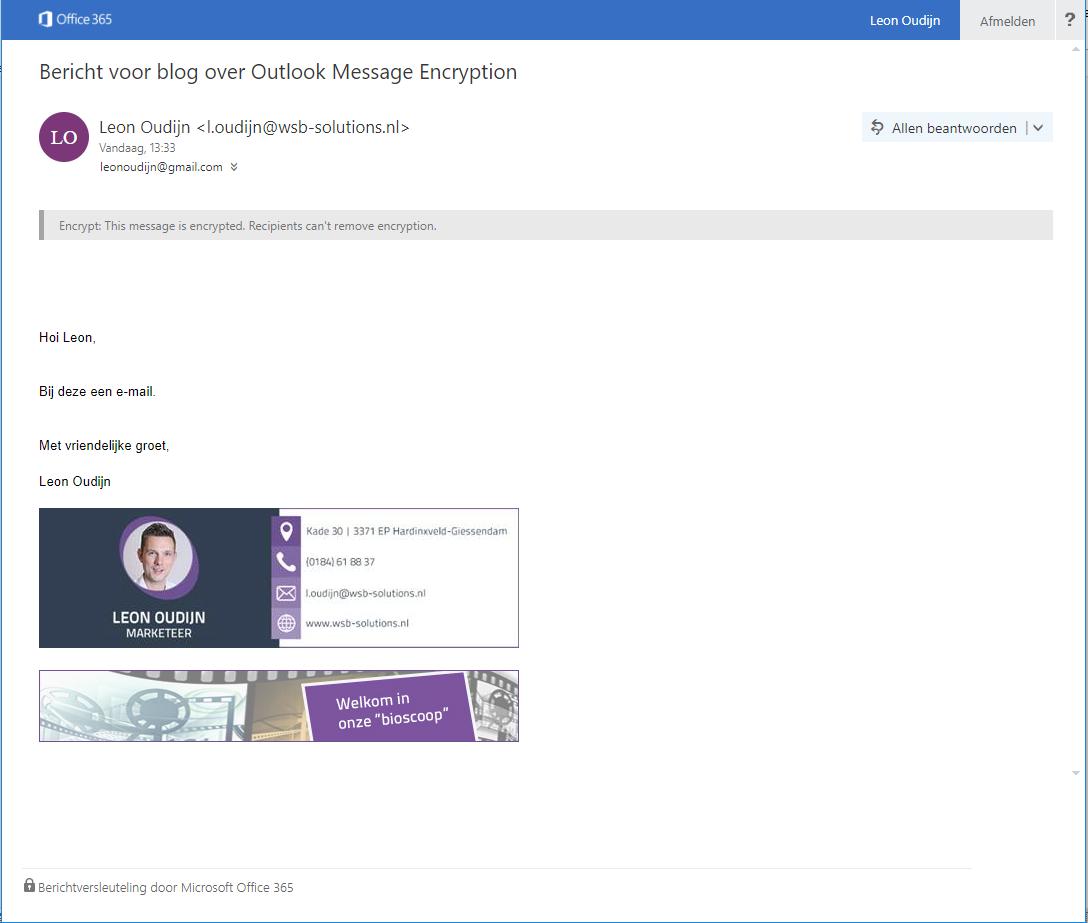 Email versleuteling in Gmail webweergave