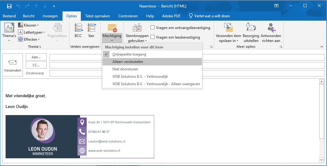 Email versleuteling in Outlook
