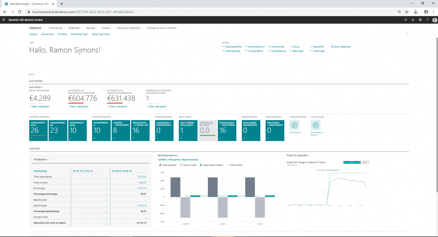 Business Central dashboard
