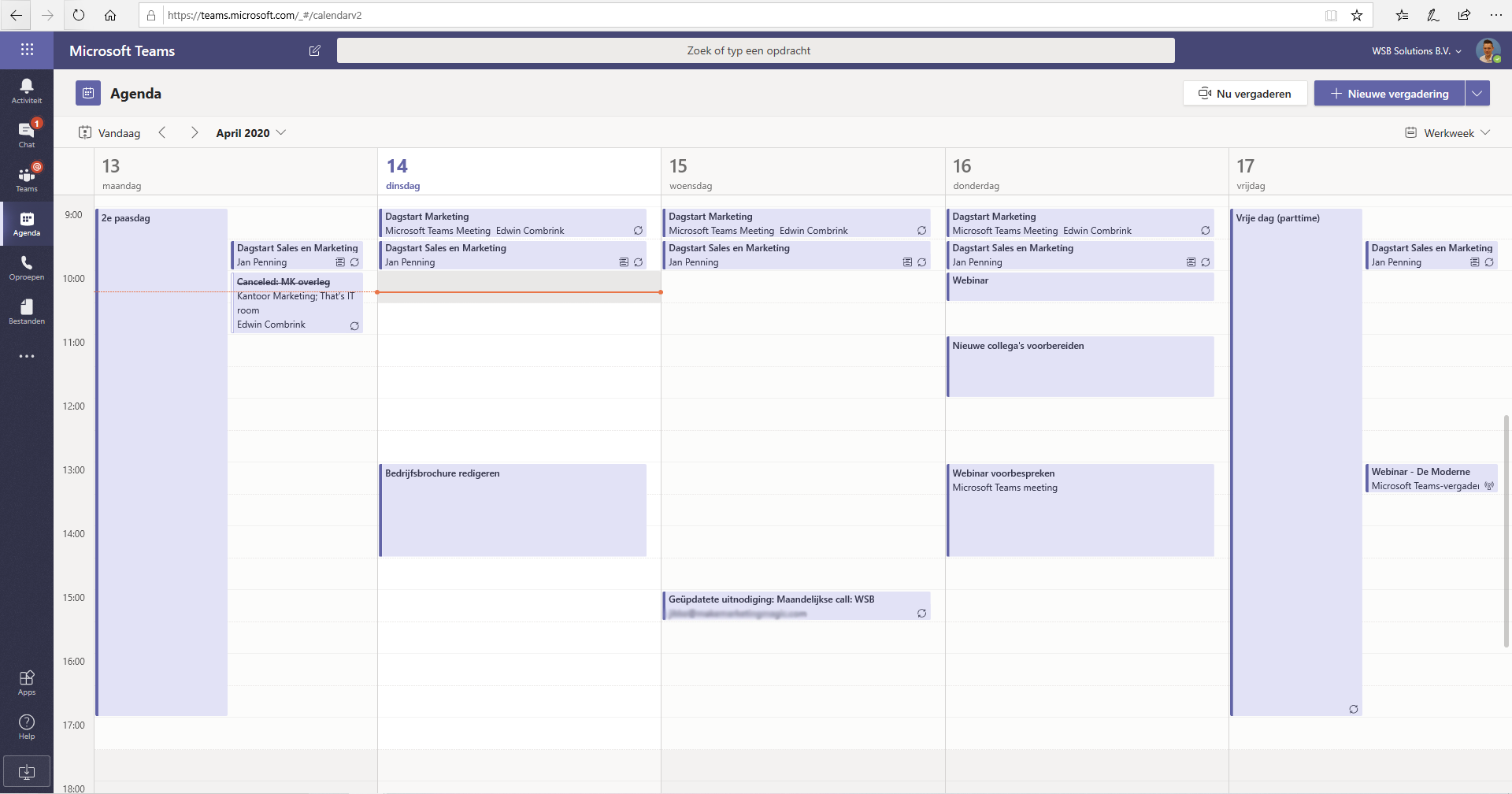Agenda Outlook in Teams