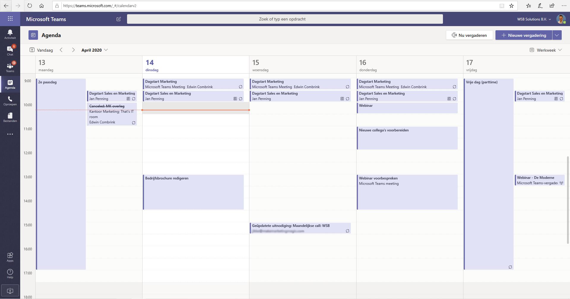 Agenda Outlook in Teams