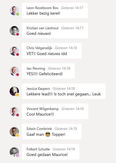Teams chat - succes vieren