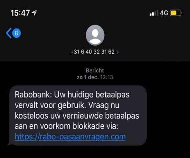 phishing voorbeeld sms