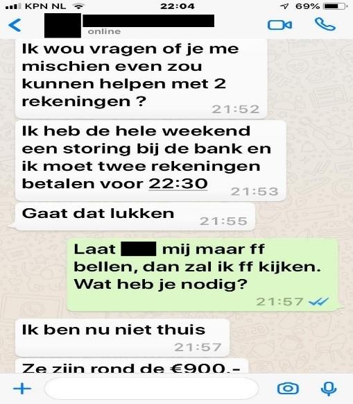 voorbeeld phishing whatsapp