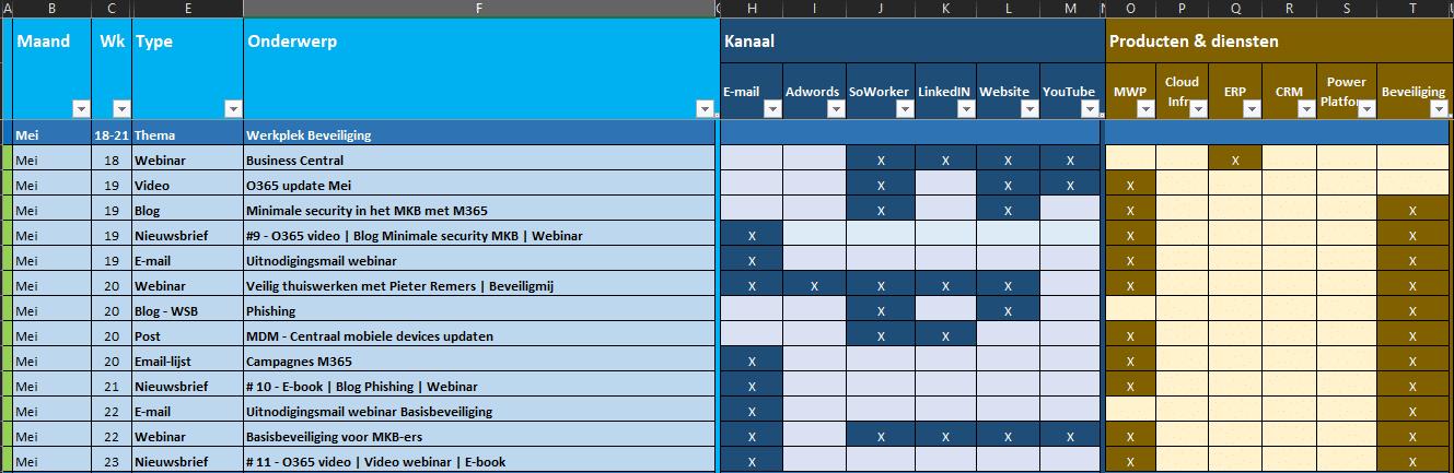 Excel - campagnekalender