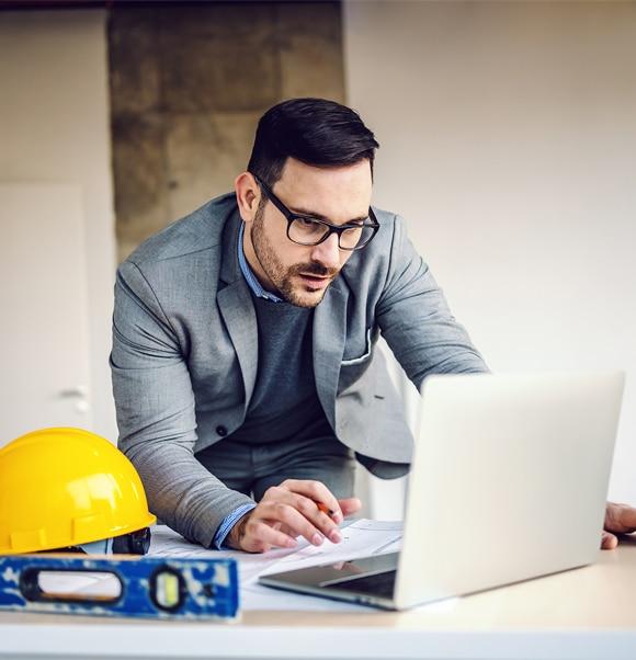 Moderne werkplek bouwbedrijf
