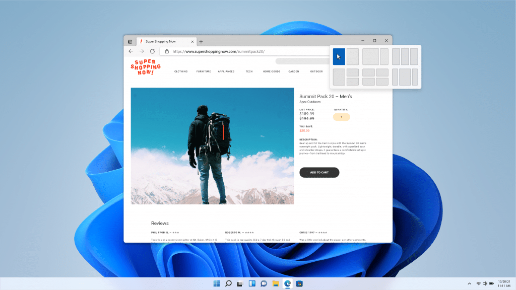 Windows 11 snap lay outs