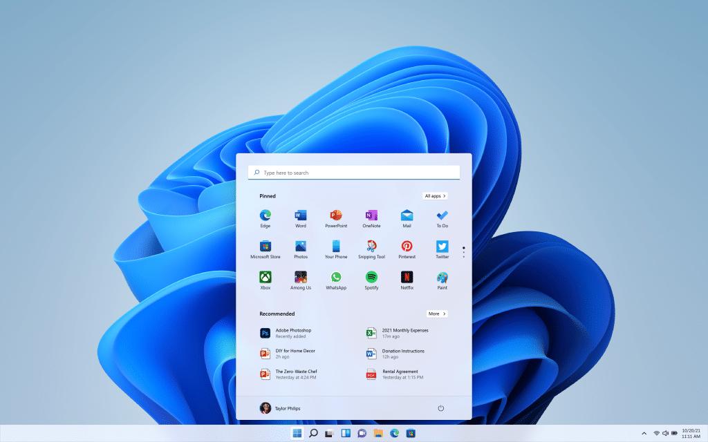 Windows 11 start knop