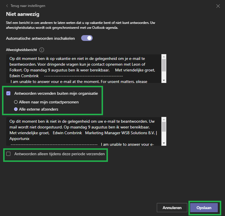 Teams afwezigheidsmelding instellen - stap 4 antwoorden